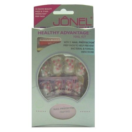 Kit 24 Faux Ongles + Colle Pois Roses